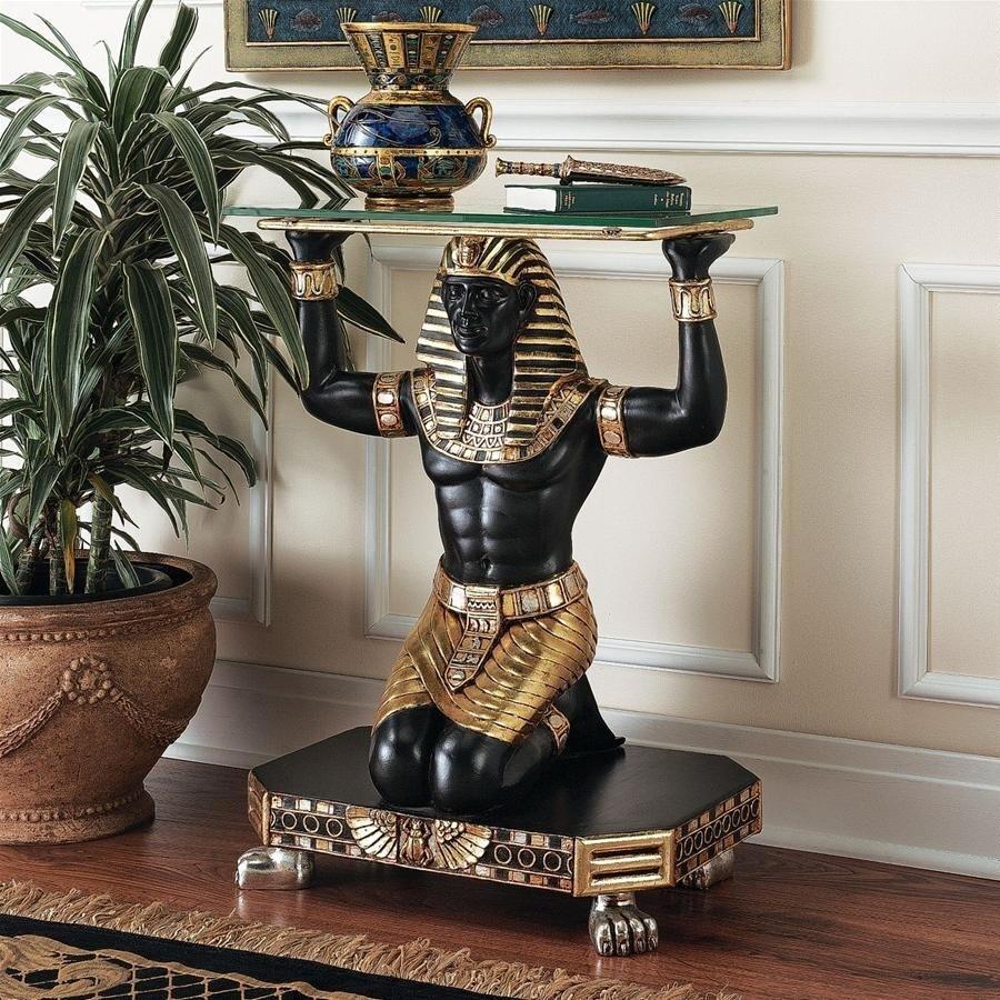デザイン・トスカノ製 古代エジプト ファラオの召使い ガラス・トップ コンソールテーブル 彫像 彫刻(輸入品)