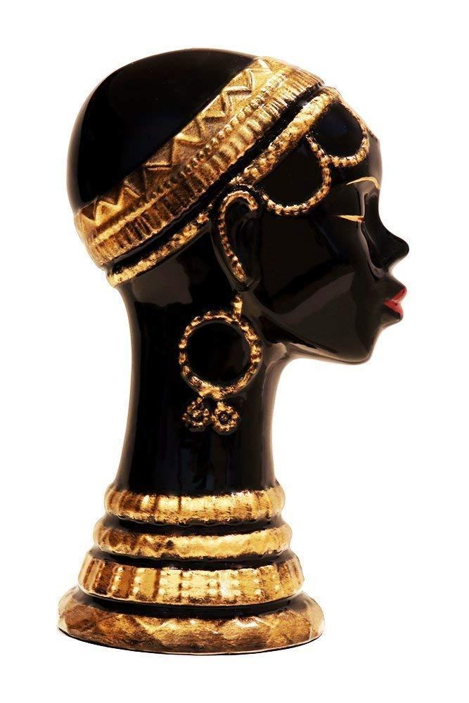 ネックレスを付けた、アフリカの女性(淑女) 彫像 彫刻/ AFRICAN LADY WITH NECKLACE STATUE FIGURINE 13H, 80752 BY ACK(輸入品)
