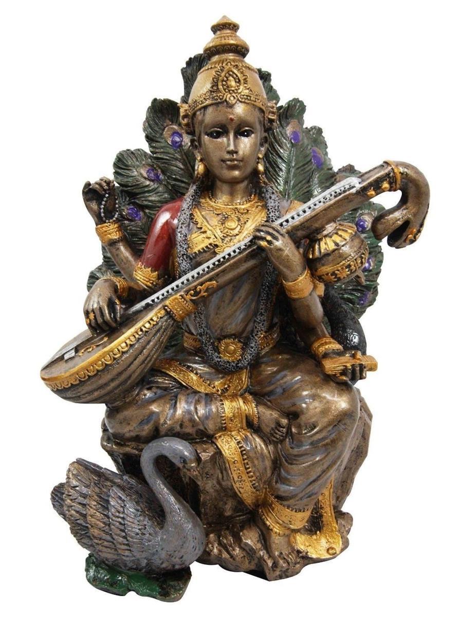 ヒンズー教 知識、音楽芸術、知恵学習の女神 弁才天(弁財天)サラスヴァティー(サラスバティー)インド神 彫刻 彫像/Saraswati (輸入品)
