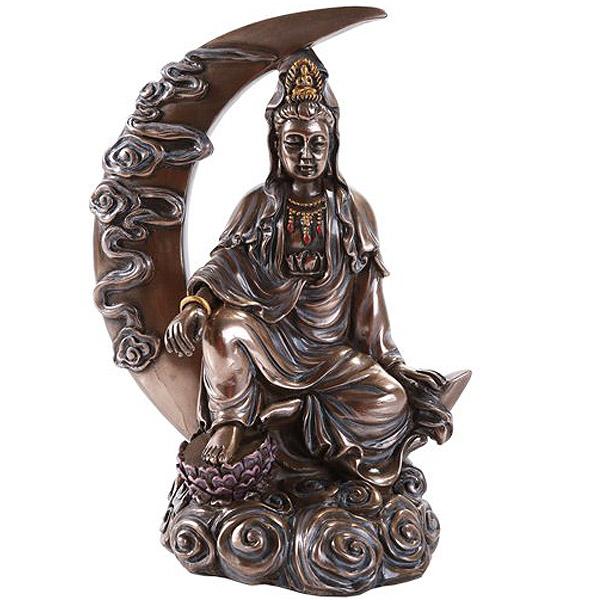 月光観音菩薩像 仏教美術 薬師三尊 般若心経、仏教 彫像 彫刻 彫像/ Kuan Yin Kwan Ying Statue Figure Deity Chinese Goddess (輸入品)
