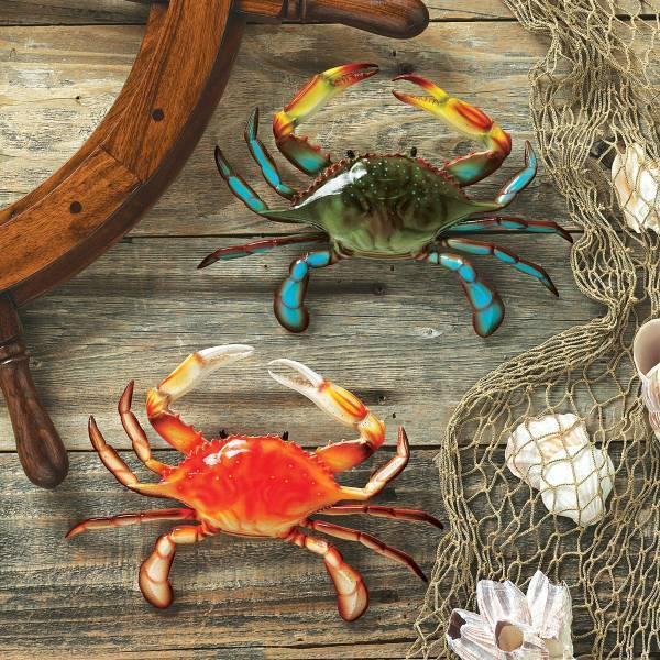 トロピカルな、色が綺麗な カニ(蟹)の壁彫刻(2個セット)彫像 デザイン・トスカノ製 / Tropical Crabs Wall Sculpture(輸入品)
