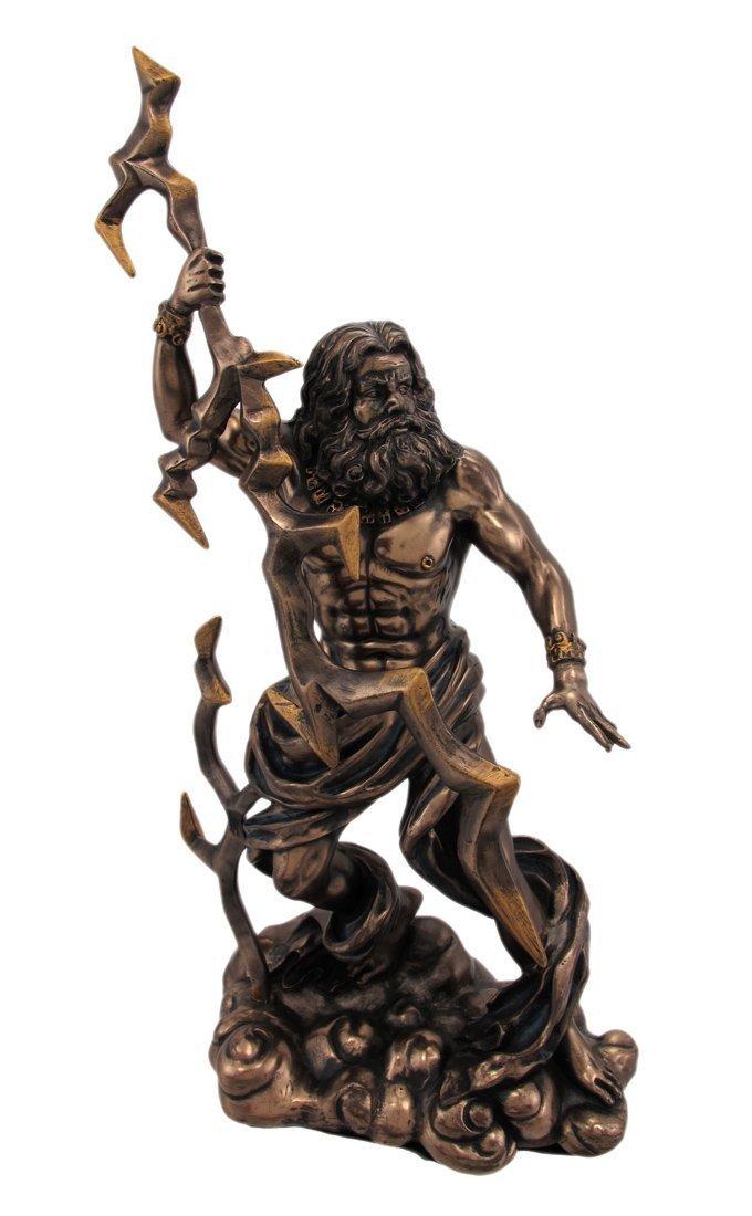 ブロンズ仕上げ 雷を持ったゼウス像 ギリシャ神話 木星/ King Zeus Grecian God Throwing Lightning Resin Statue Figurine(輸入品)