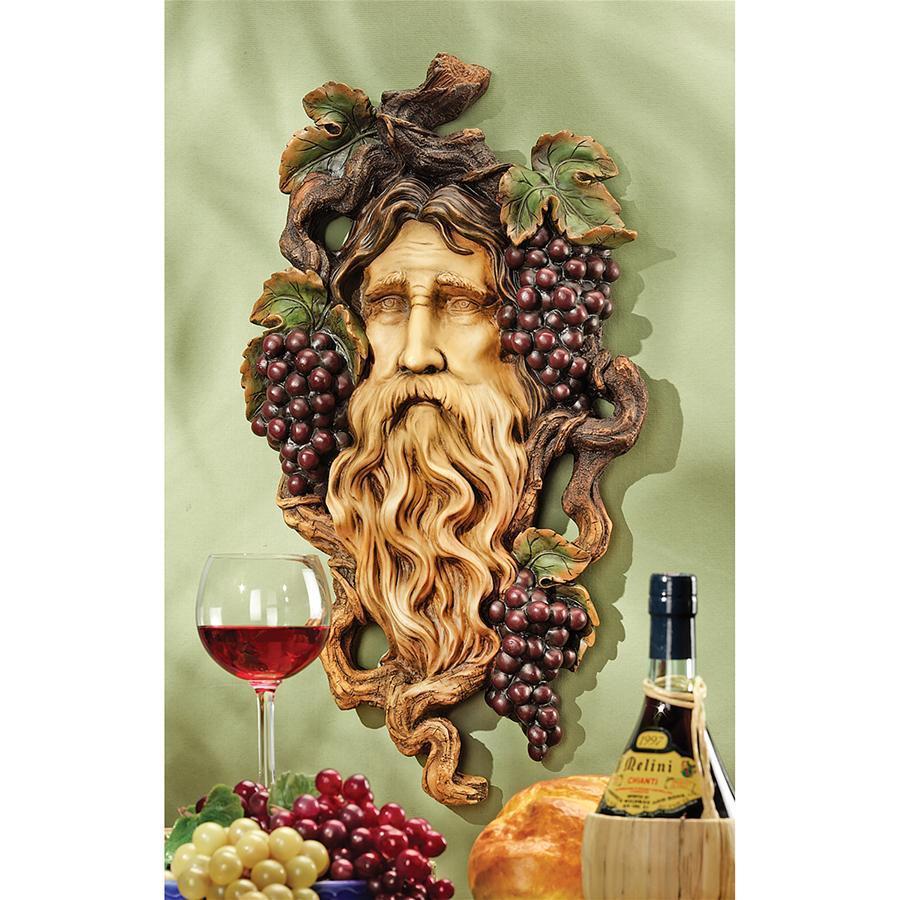 デザイン・トスカノ製 ブドウの精霊 葡萄収穫の神(バッカス)壁彫刻 彫像/ God of the Grape Harvest Wall Sculpture (輸入品)