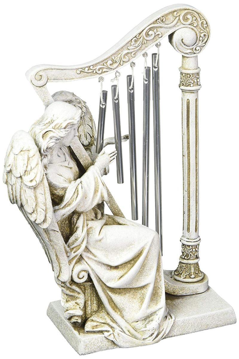 ヨセフ・スタジオ製 高さ25cm ハープを奏でる天使(エンジェル) メタル製 風鈴、ガーデンウインドチャイム 彫像 彫刻置物/ Josephs Studio Garden Wind Chime, 68367, Angel with Harp Wind Chimes, 10 inches tall(輸入品)