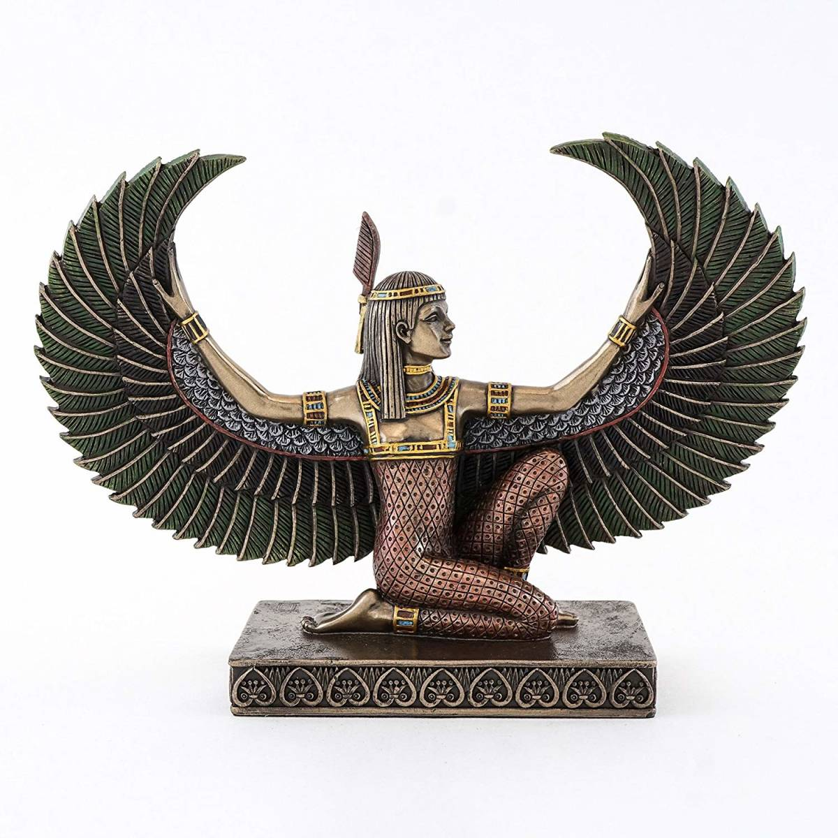 古代エジプト 有翼の マアト神 彫像/ Top Collection 6 inch Egyptian Winged Maat Sculpture in Cold Cast Bronze(輸入品)