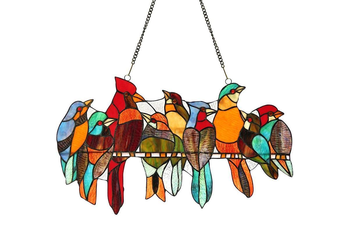 クロエ・ライティング製 クロエ・ティファニーガラス ウインドウ(窓)パネル ワンサイズ 小鳥のステンドグラス装飾(輸入品)
