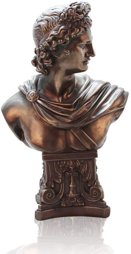 レペンダー製 アポロ・ベルヴェデーレの胸像、ブロンズ風仕上げ、ブラウン彫刻 高さ 約30cm 彫像(輸入品)