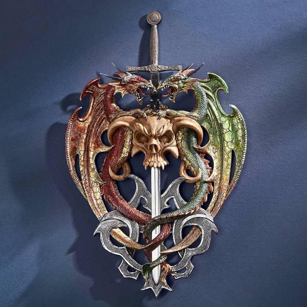 スーパーSALE セール期間限定 ドラゴンが必死になって楯となった剣 壁彫刻 新春セール 即納 インテリア彫像 SALENEW大人気! 輸入品 ファンタジー 壁装飾オーナメント 騎士像 ゴシックホラー