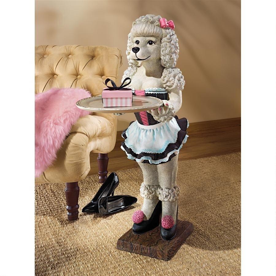 デザイン・トスカノ製 「ココ」パリのかわいいプードルのメイド サービング・テーブルインテリア 彫像 彫刻(輸入品)