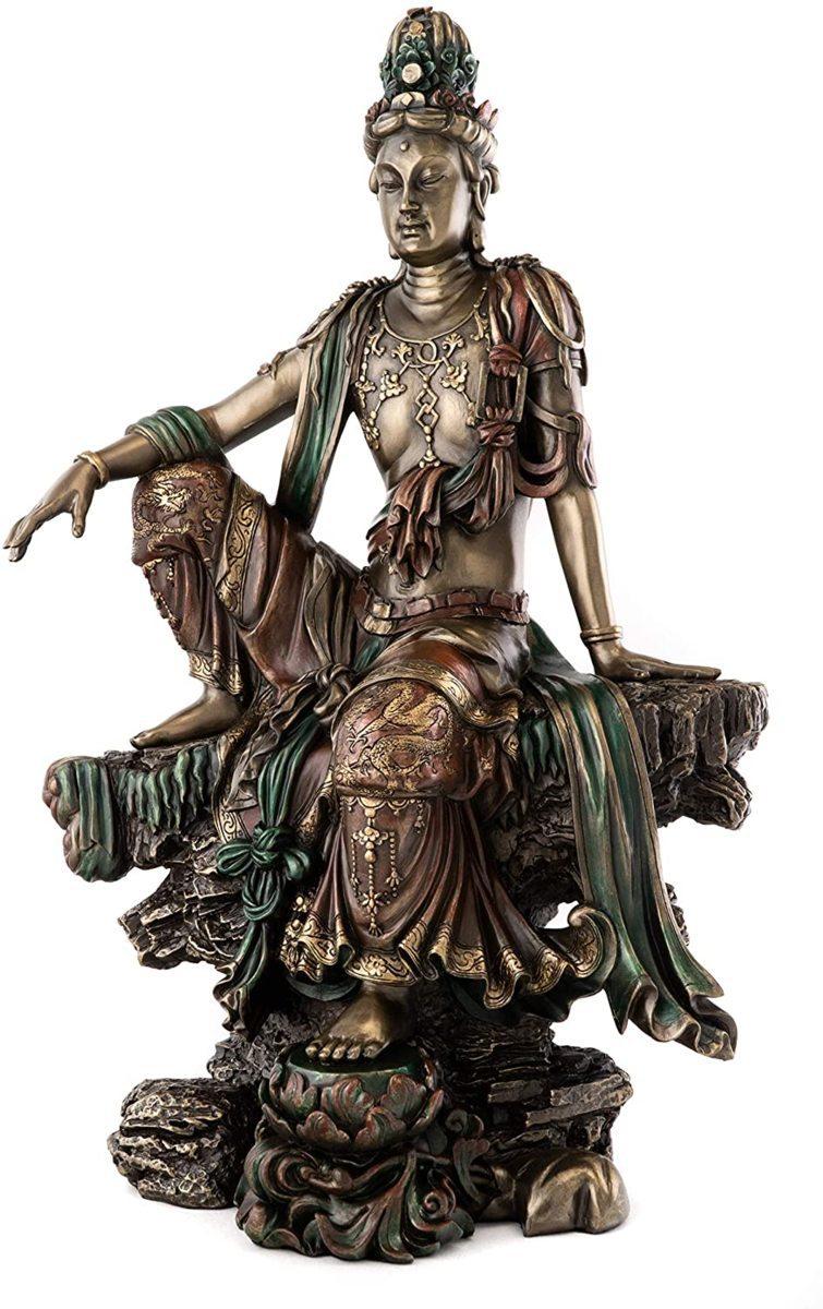 水月観音の半跏思惟像-鋳造ブロンズ風 彫像-高さ 約37cm置物 慈悲の観音菩薩像 彫刻装飾 彫像(輸入品)