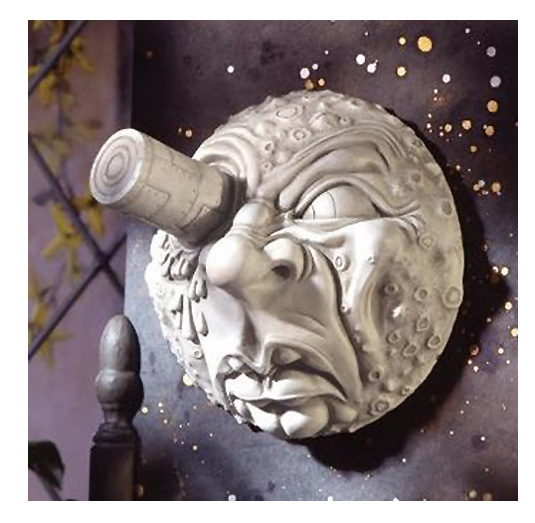 映画「月世界旅行」から月にロケットが刺さる彫像 壁飾り彫刻/ Trip to the Moon Wall Sculpture, Antique Ston[輸入品)
