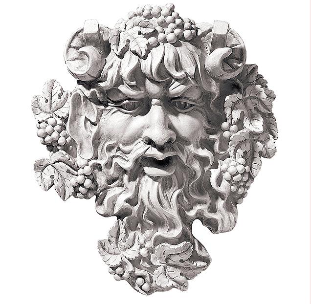 バッカス(グリーンマン)ワインの神 壁彫刻 アンティーク風 彫像/ Bacchus God of Wine Greenman Wall Sculpture in Antique Stone(輸入品
