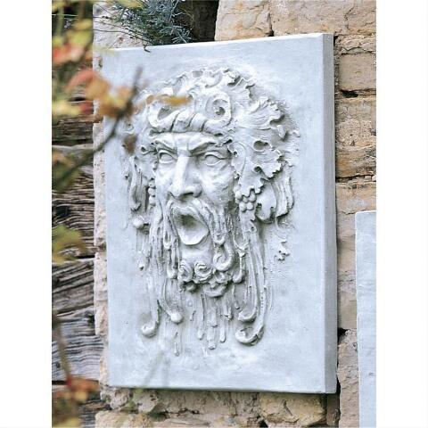 デザイン・トスカノ製 酒、葡萄の神 バッカス (アピマス) イタリアンスタイルの壁掛け ストーン風壁画 彫像 彫刻(輸入品)