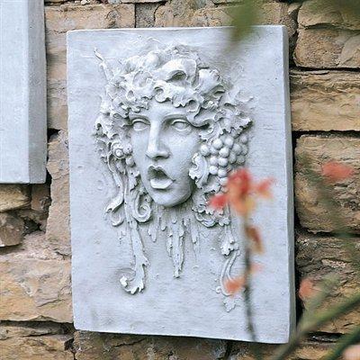 デザイン・トスカノ製 酒、葡萄の神 バッカス (ヴァッパ) イタリアンスタイルの壁掛け ストーン風壁画 彫像 彫刻(輸入品:浪漫堂ショップ