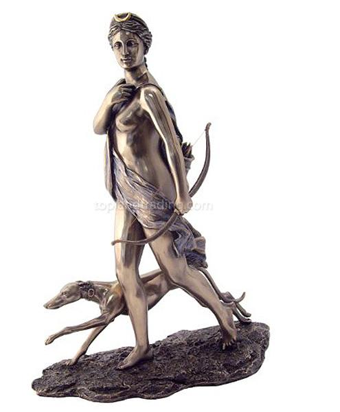 ダイアナ 狩猟の女神 ギリシャ神話 ブロンズ風仕上げ彫像/ 11 Inch Cold Cast Bronze Finish Diana the Huntress with Hound Statue(輸入品