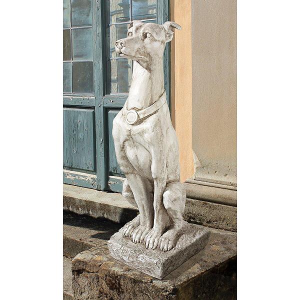 アールデコ風 ホイペット犬. グレイハウンド センチネル 番犬像 彫刻 彫像/ Art Deco Whippet Greyhound Sentinel Dog Statue(輸入品