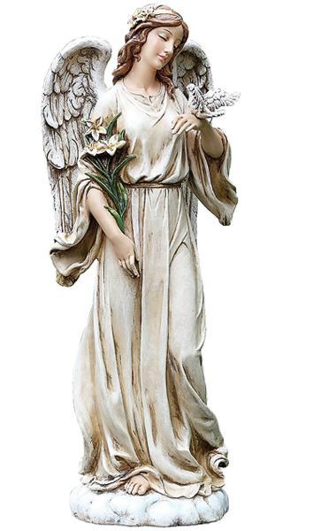 高さ 約62cm ヨセフスタジオ製 鳩と百合持つ天使 屋外可 彫像/ Roman Josephs Studio Angel with Dove and Lily Flowers Outdoor Garden Statue, 24.5-Inch(輸入品