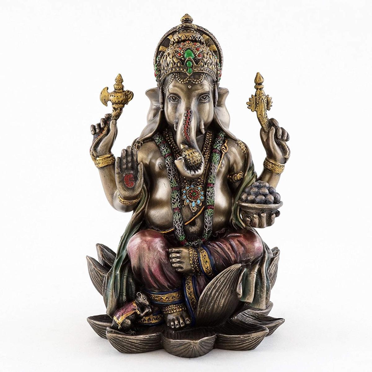 ガネーシャ(夢をかなえるゾウ)ヒンズー教の象神 成功の神 ブロンズ風 彫像 彫刻 高さ約18cm/ 7 1/4-inch Ganesha Statue(輸入品