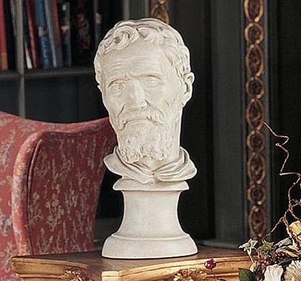 デザイン・トスカノ製 ミケランジェロ・ブオナローティ胸像彫刻 彫像/ Design Toscano Michelangelo Buonarroti Bust(輸入品