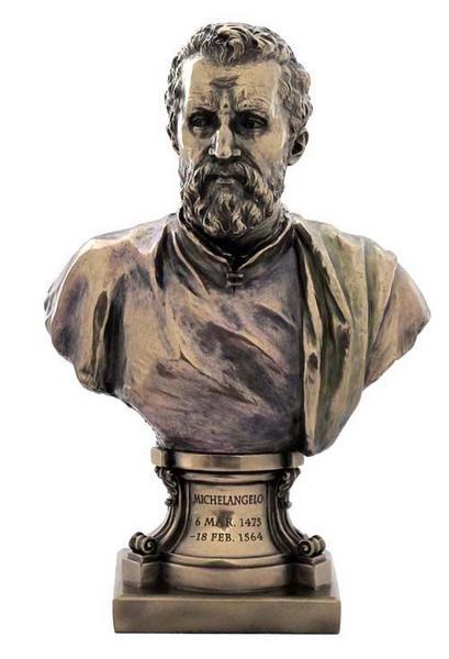 イタリア・ルネッサンスの巨匠 ミケランジェロ・ブオナローティ ブロンズ風 胸像 彫像 彫刻/ Michelangelo Buonarroti Figurine(輸入品