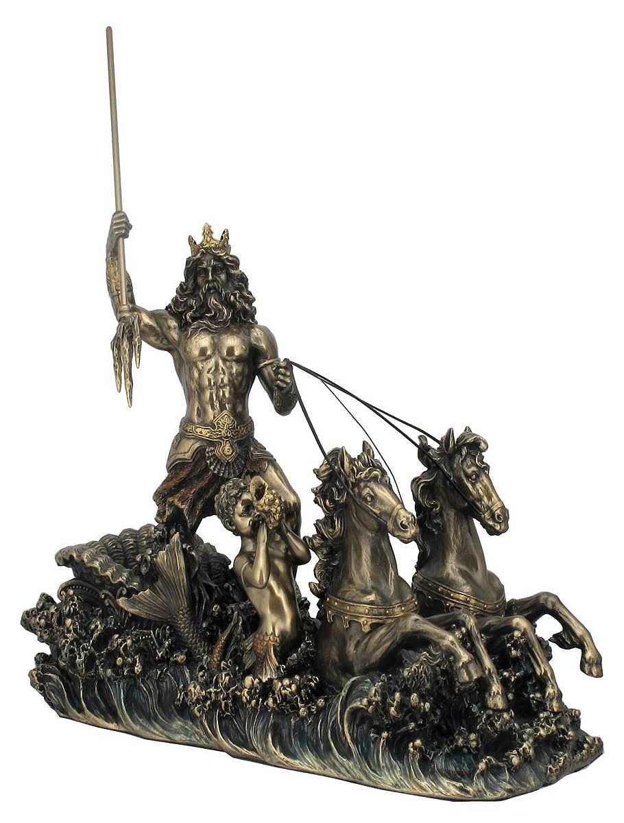 海馬のチャリオットに乗る海の神 ポセイドン 古代ギリシャ神話 彫刻 ブロンズ風彫像 フィギュア像(輸入品)