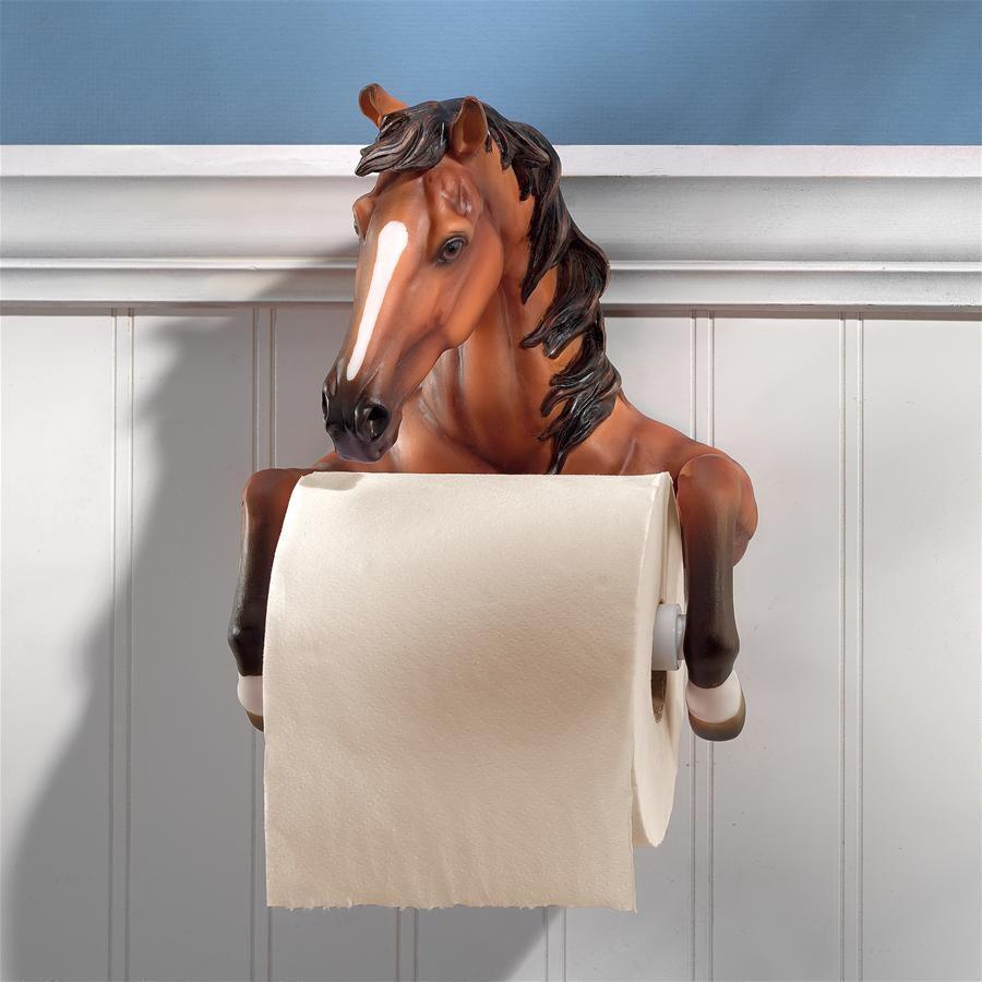 デザイン・トスカノ製 素朴な馬 トイレットペーパーホルダー - 安定したスタリオン彫像 小さいバスルーム用壁彫刻(輸入品