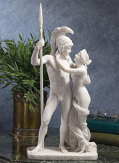 ギリシャ神 アレスと女神アフロディーテ 大理石風彫像 /Nude Greek God Ares and Goddess Aphrodite Bonded Marble Statue(輸入品
