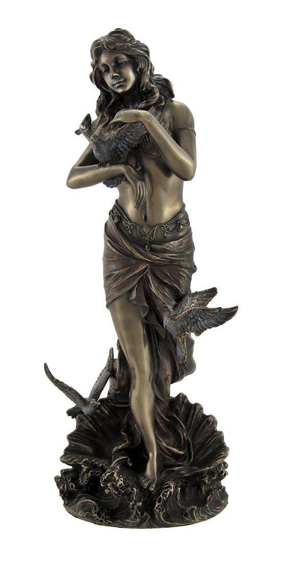 ヴェロネーゼ製 ホタテ貝殻の上で、鳩を持った、アフロディーテ(ヴィーナス)彫像 彫刻/ Bronzed Aphrodite with Doves on Scallop Shell(輸入品)