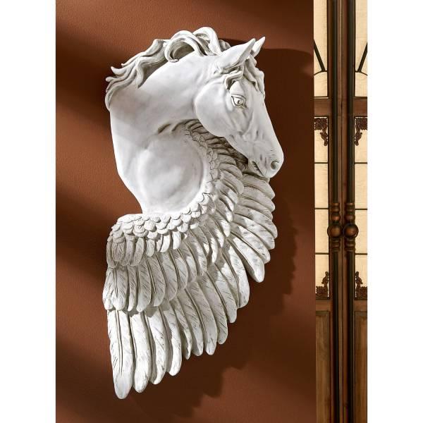 飛翔の翼 ペガサス レリーフ 馬の壁彫刻 彫像(輸入品)