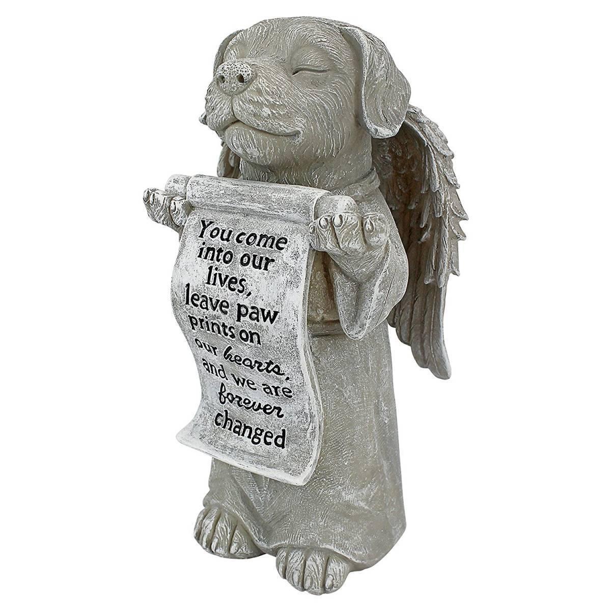 デザイントスカノ製 私達の心の足跡 いぬ(イヌ、犬)の天使 ペットお墓 屋外インテリア/ our Hearts Memorial Dog Statue(輸入品