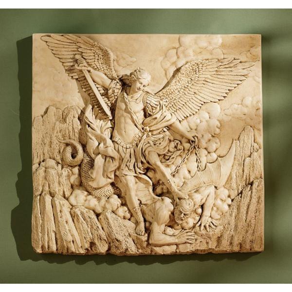 大天使 聖ミカエル ストーン風 壁彫刻 彫像/ Design Toscano St. Michael the Archangel Sculptural Wall Frieze in Stone(輸入品