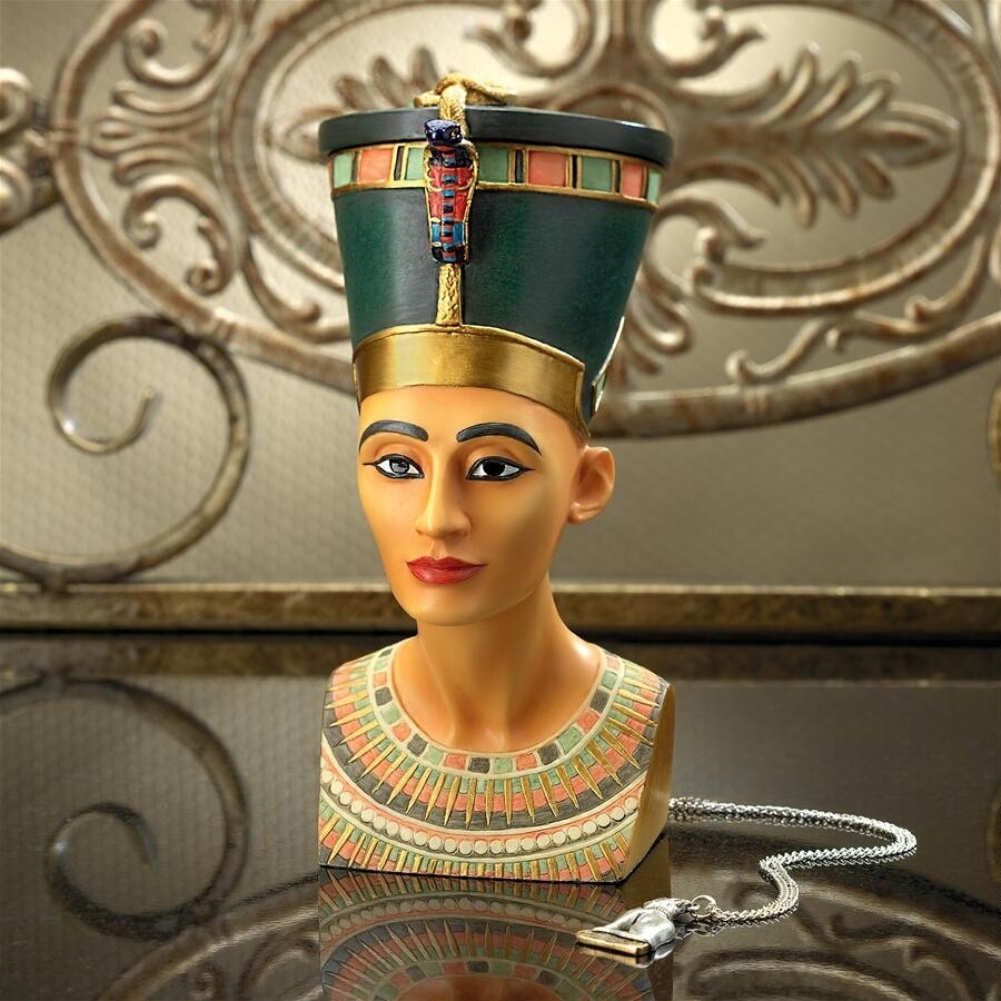 古代エジプト 装飾小物入れ - 女王 ネフェルティティの宝石箱 - 女神像彫像 彫刻(輸入品