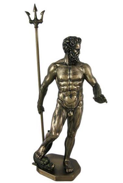 古代ギリシャの神 ポセイドン(ネプチューン)ブロンズ風 彫刻 彫像/ Greek God Poseidon Nude Bronzed Statue Neptune(輸入品