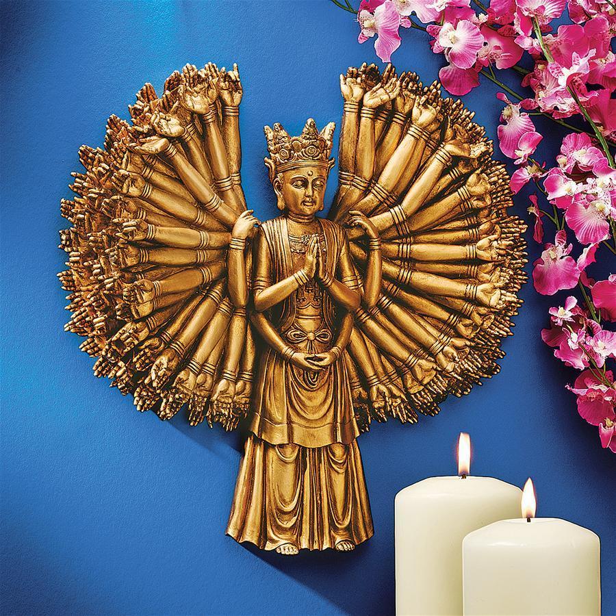 デザイン・トスカノ製 千手観音:慈悲の心 菩薩壁彫刻 彫像/ Kuan-Yin: The Bodhisattva of Compassion Wall Sculpture(輸入品