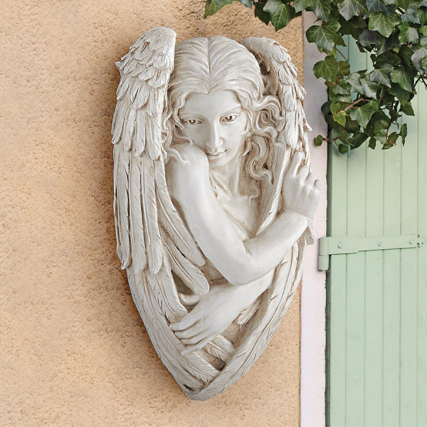 トリスタン、臆病な天使の大理石風 壁彫刻 彫像 / Design Toscano Tristan, the Timid Angel Wall Sculpture(輸入品