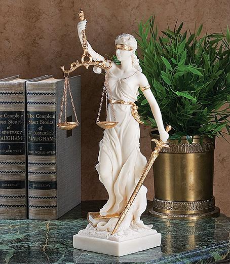 正義の女神テミス彫像; 法律の正義を象徴する彫像、大理石風キャスト彫刻/ White Themis Greek Goddess Blind Justice Bonded Marble Statue Sculpture(輸入品)