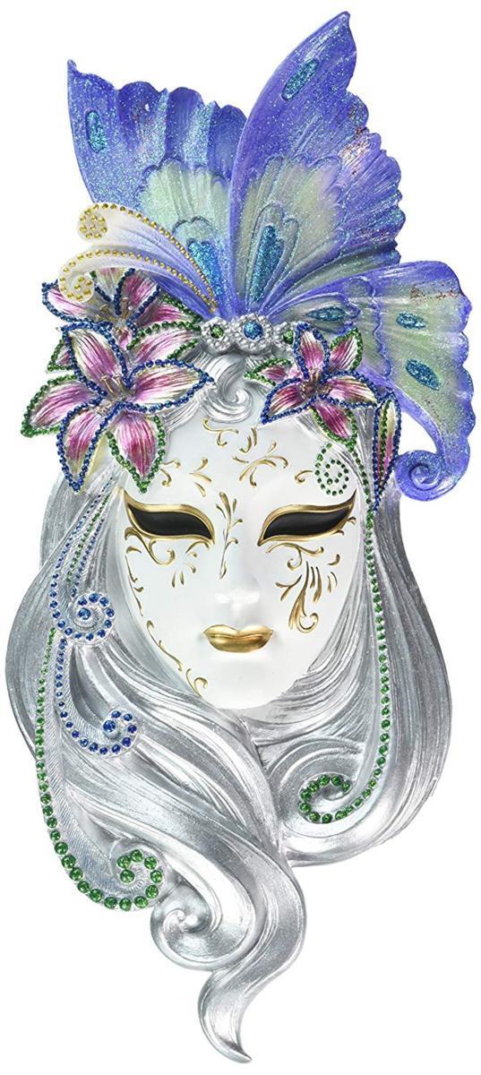 デザイン・トスカノ製 蝶の羽のヴェネツィアン・マスク 壁彫刻、フルカラー彫像/ Butterfly Wings Masks of Venice Wall Sculpture(輸入品
