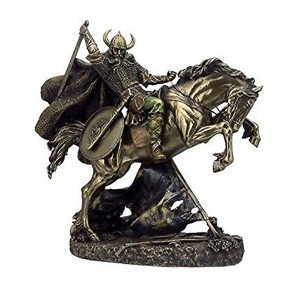 馬に乗った北欧のバイキング戦士 彫像フィギュア ブロンズ風彫刻 幅27cm ヴェロネーゼ製/ 10.75