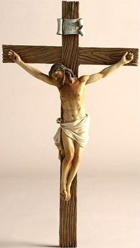 イエス・キリスト 十字架 彫刻 彫像 高さ 約36cm/ Jesus Nailed On The Cross Resin Wall Crucifix, 14 Inch(輸入品