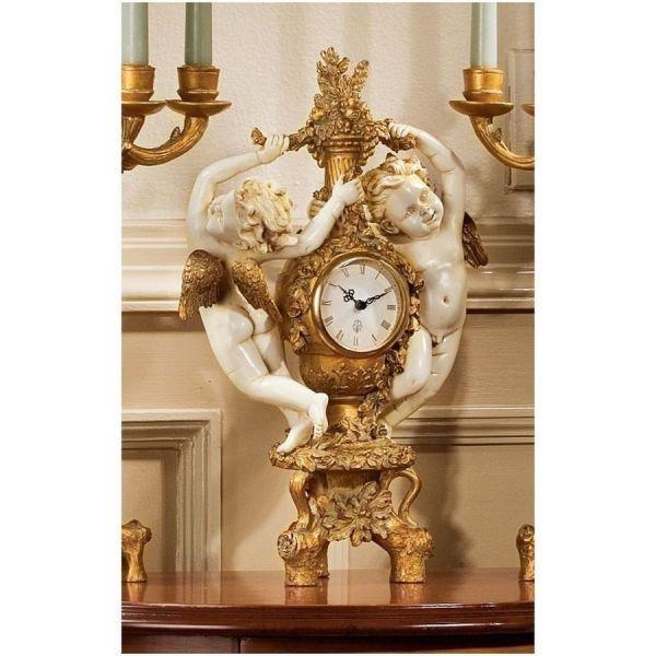 エンジェル(天使)の収穫 アイボリーとアンティークフェイクゴールド風 卓上時計(輸入品)