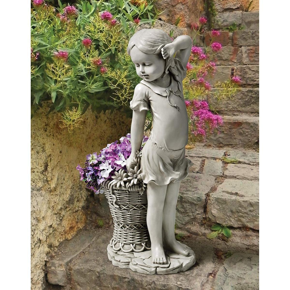 デザイン・トスカノ製 フランシス フラワーガール像 彫刻 彫像/ Design Toscano Frances, the Flower Girl Statue(輸入品)