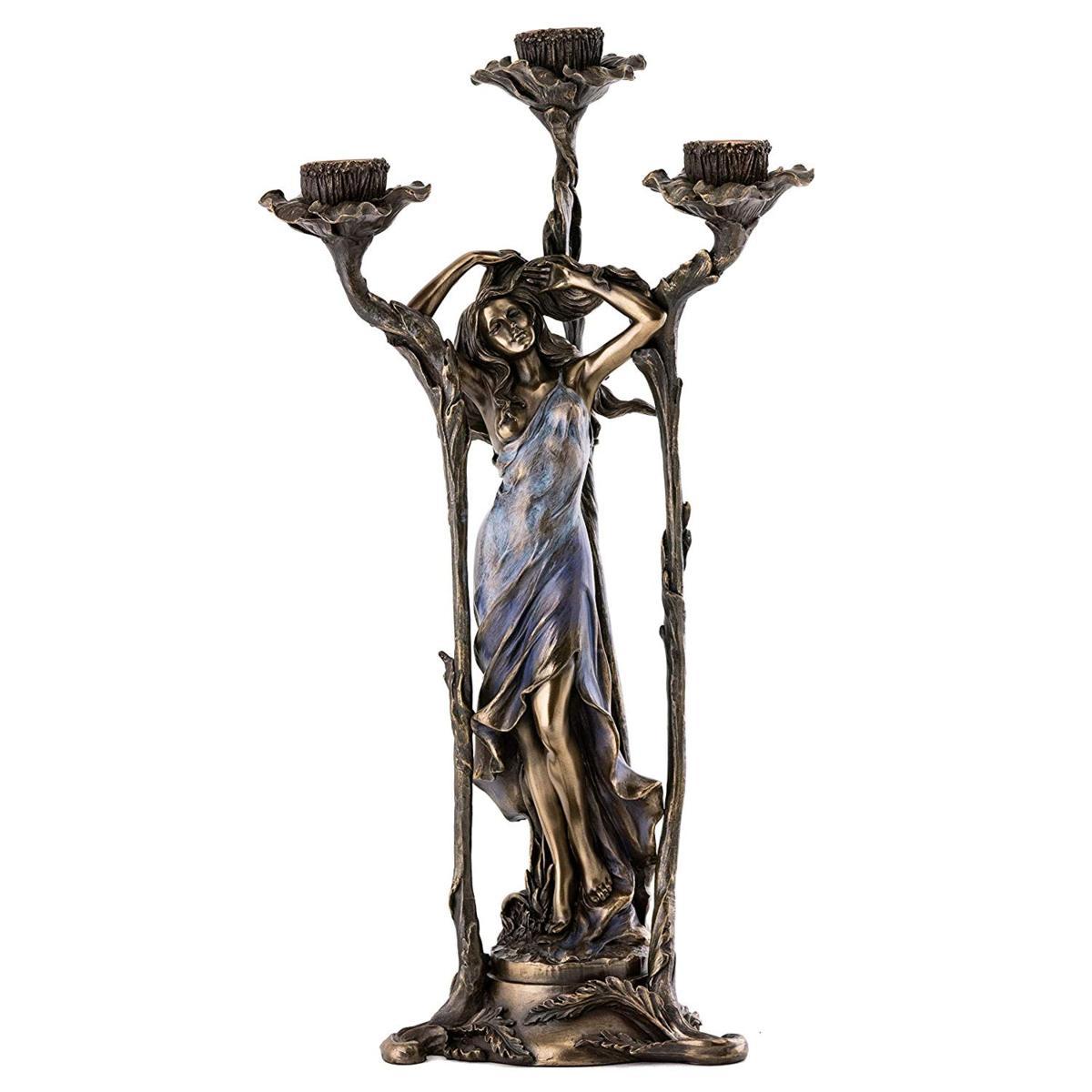 青いドレスの女 アール・ヌーボー装飾女性 燭台彫像-ブロンズ風 ハンドペイント 美しい花 -キャンドル燭台置物 彫刻(輸入品)