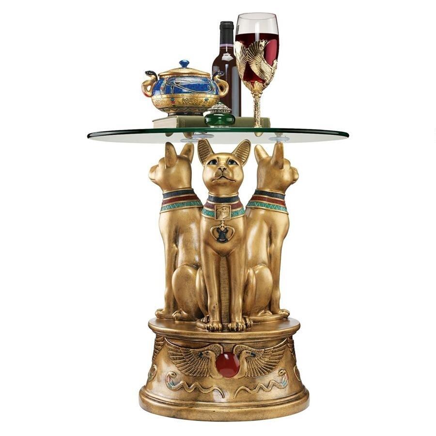 ロイヤル・ゴールデン・バステト 古代エジプト 猫の女神を、かたどった台座を持つサイド・テーブル彫刻 彫像(輸入品)