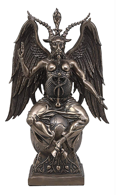 エブロス製 高さ 約38cm 地球の上に座った、バフォメット彫像 サバティック (サタン教会) 悪魔的 神秘的な祭壇の彫刻フィギュア(輸入品)