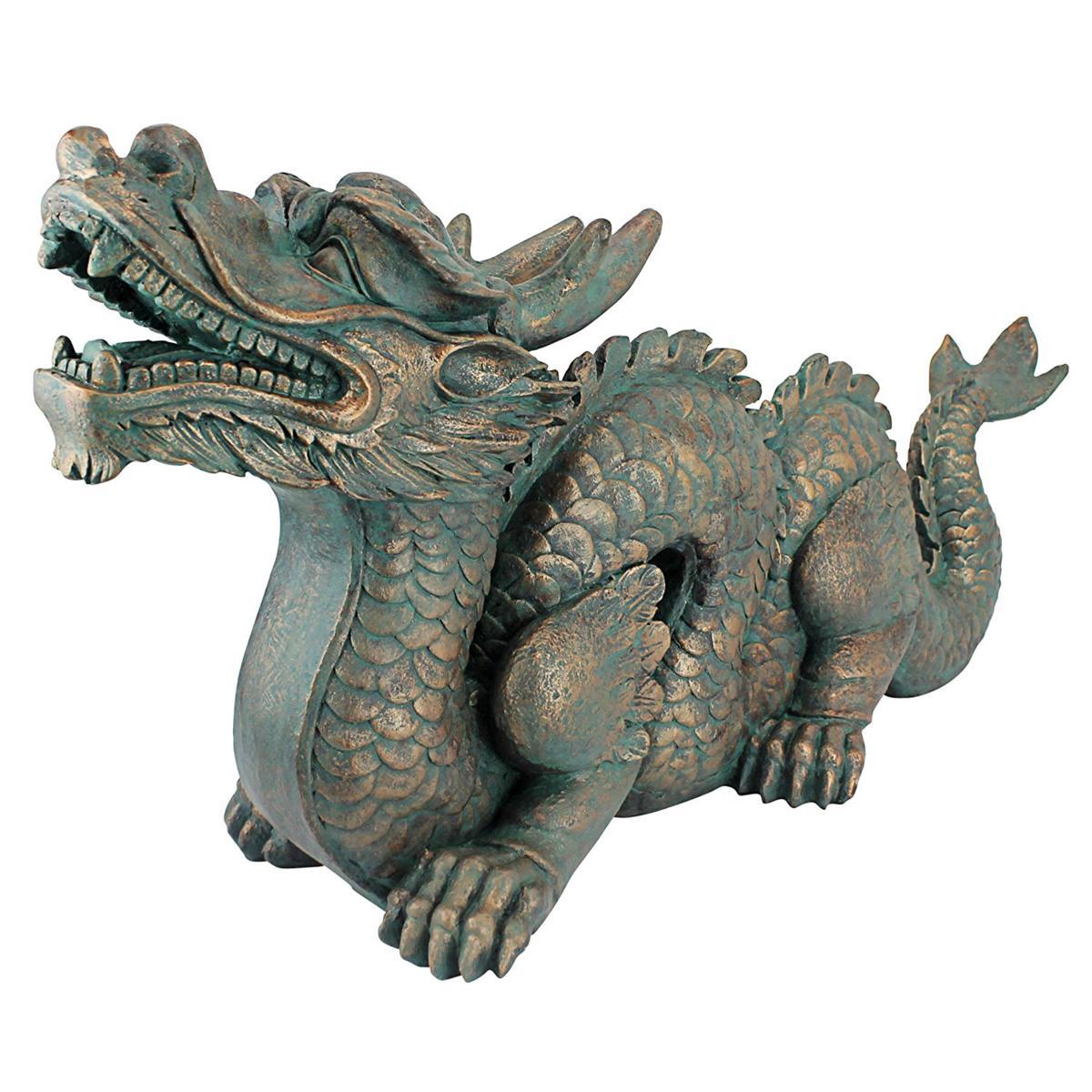 デザイン・トスカノ製 万里の長城のアジアン・ドラゴン(龍) 緑青風仕上げ 彫像 彫刻 / Asian Dragon of the Great Wall Statue(輸入品)