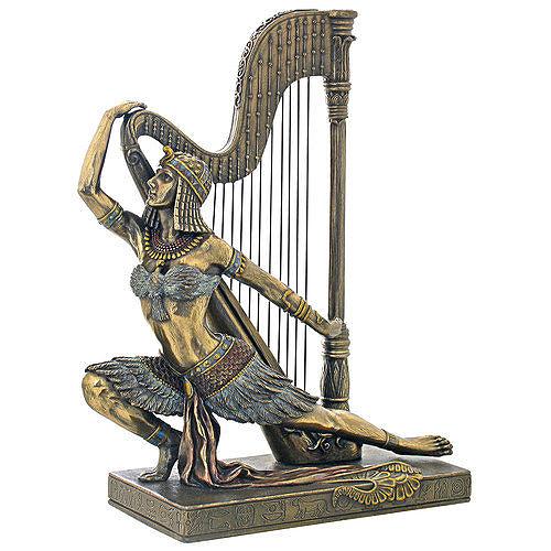 アール・デコ風 グランド・ハープの前のエジプトのダンサー・ランジ 彫刻 彫像/ Egyptian Dancer Lunge in Front of Grand Harp(輸入品)