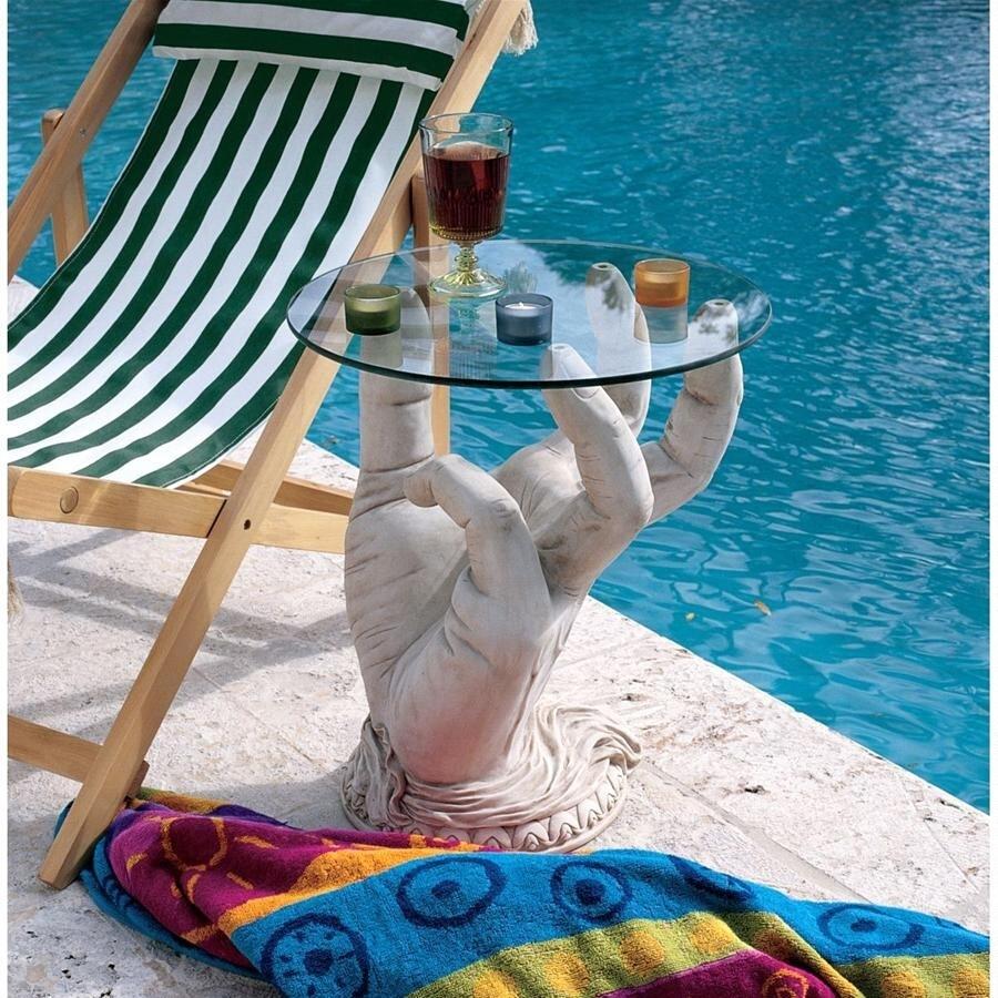 デザイン・トスカノ製 「あなたのサービスで」彫刻台座 ガラス・トップ テーブル 彫像 彫刻(輸入品)