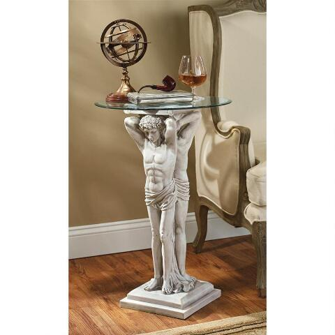 デザイン・トスカノ製 エルミタージュ博物館 アトランティス ガラストップ 人物柱 テーブル彫刻 彫像(輸入品)