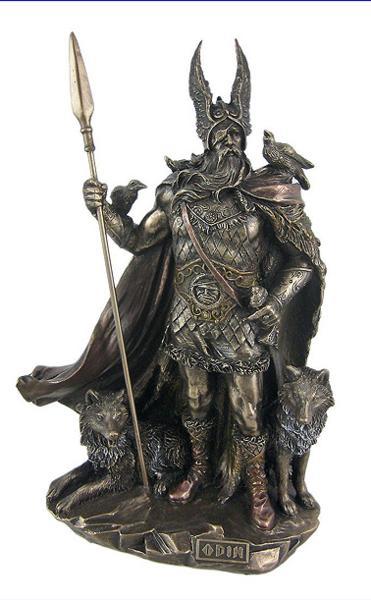 北欧神話の神 オーディン ブロンズ風仕上げ 彫像 バイキング パガン高さ;約25cm / Norse God Odin Bronze Finish Statue (輸入品)