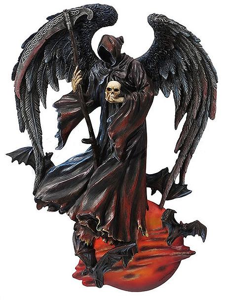 鎌と頭蓋骨を持つ、ブラッドムーン闇夜の死神(デス・グリムリーパー) 壁装飾 彫像 彫刻/Grim Reaper Death Of The Night Statue(輸入品)